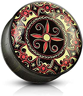 10mm stunning celtic design ebony wood saddle ear plug, tunnel, earring other sizes available at pegasus body jewellery