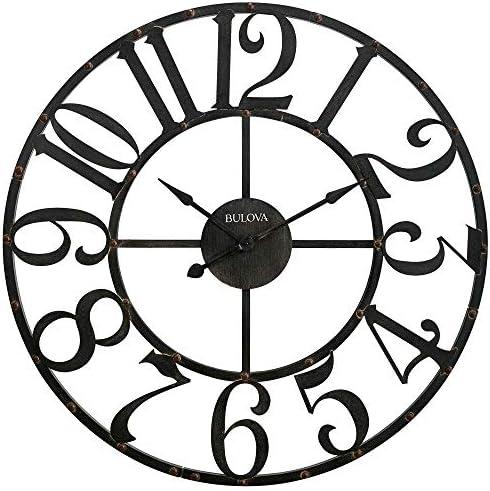 Bulova C4821 Oversize Gabriel Wall Clock, Rustic Brown