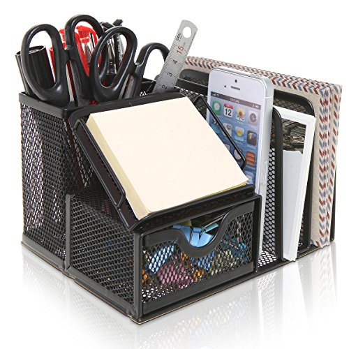 MyGift Metal Mesh Office Supplies Storage Rack, Mail Organizer, Post It Note Memo Pad Holder, Black