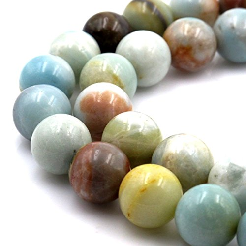 jennysun2010 Natural Multi-Colored Amazonite Gemstone 8mm Smooth Round Loose 50pcs Beads 1 Strand for Bracelet Necklace Earrings Jewelry Making Crafts Design Healing ()