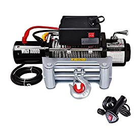 12 Volt 8000 lbs Wireless Remote Recovery Electric Winch