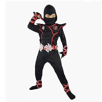 Proumhang Disfraz de Cosplay Halloween Ninja Samurai Ninja Niño Ninja Negro-L(120-130cm)