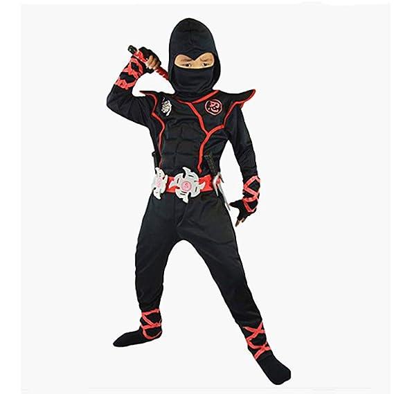 Proumhang Disfraz de Cosplay Halloween Ninja Samurai Ninja Niño Ninja Negro-S(95-110cm)