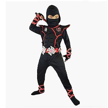 Proumhang Disfraz de Cosplay Halloween Ninja Samurai Ninja Niño Ninja Negro-XL(130-140cm)