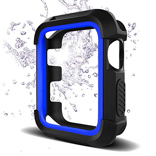 Bellamei Compatible Apple Watch Case 42mm Shock-Proof Shatter-Resistant Protective Case Soft Silicone Sport Band for Series3/2/1 Nike+ Sport Edition (Black-Blue, 42mm M/L)