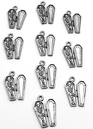 Set of Ten (10) Silver Tone Pewter Skeleton in Coffin Charms