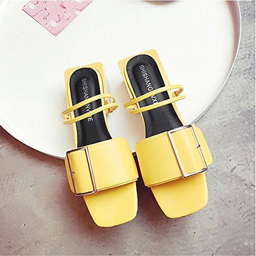Casual CN35 5CM Zapatos Blanco Sandalias 4 3 con Vintage Tamaño Color Verano UK3 de Mujer EU36 5 Opcional Amarillo PU Material Color Feifei Alto B85Fq8xwZ