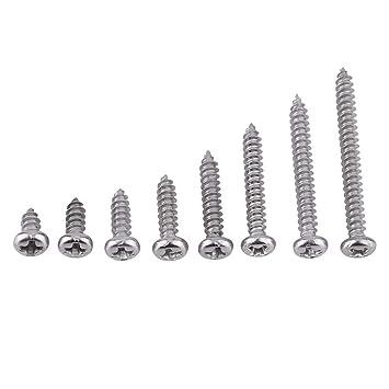 300 unidades, 6 mm, 8 mm, 10 mm, 12 mm, 16 mm, 20 mm Juego de tornillos de cabeza plana para madera Loscrew