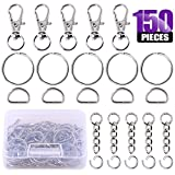 open d ring - Swpeet 150Pcs Lobster Claw Clasps, Including 30Pcs Key Chain Hooks and 30Pcs D Ring, 30Pcs Key Rings and 30Pcs Extender Chain with 30 Pcs Open Jump Rings