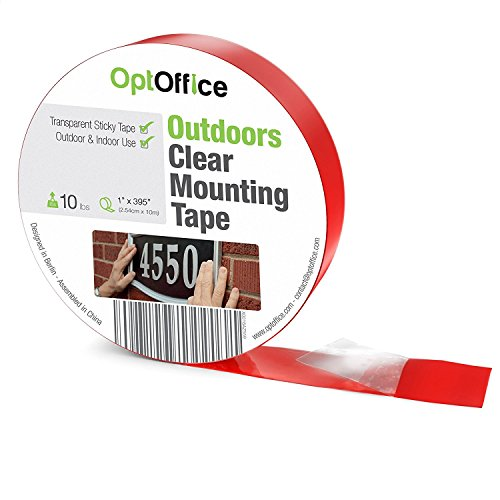 OptOffice Double Sided Waterproof Ultra-Thin Outdoor Mounting Tape in 1' x 395' Perfect for Outside Use And Holds up to 2 Pounds Which Also Can Withstand Harsh Weather Conditions