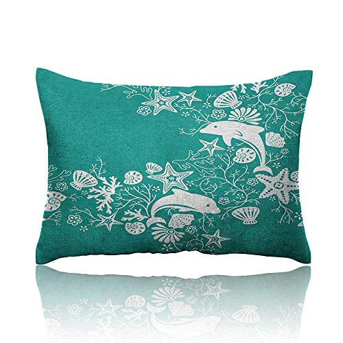 "Anyangeight Sea Animals Pillowcase Dolphins Flowers Sea Life Floral Pattern Starfish Coral Seashell Wallpaper Travel Pillowcase 13""x18""Sea Green White"