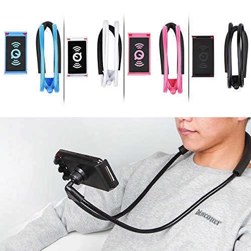Zlimio Cell Phone Holder, Multifunction 360° Flexible Lazy Hanging Neck Phone Holder Stand Support Bracket-Black