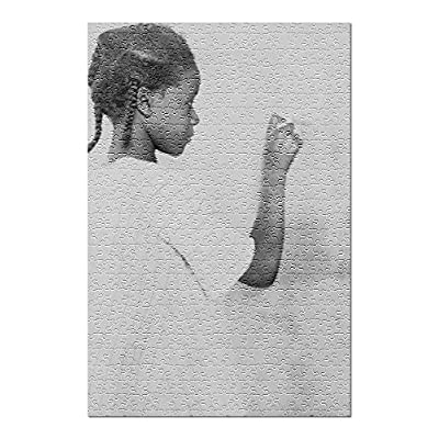 Young African American Girl at Chalkboard - Vintage Photograph (Premium 500 Piece Jigsaw Puzzle for Adults, 13x19, Made in USA!): Toys & Games
