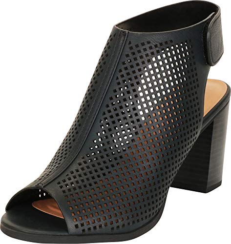 Cambridge Select Women's Open Toe Laser Cutout Perforated Slingback Chunky Stacked Block Heel Ankle Bootie,8.5 M US,Black