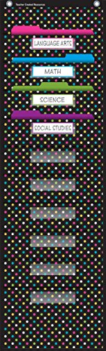 Teacher Created Resources Chalkboard Brights 10 Pocket File Storage Pocket Chart (20736)