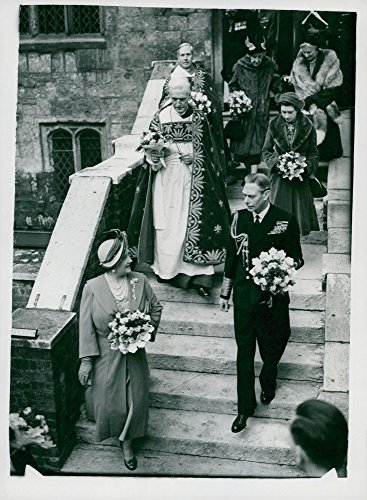 Vintage photo of The royal couple and Princess Margaret outside Westminster Abbey
