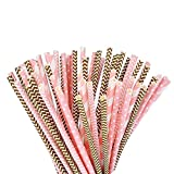 eBoot-Paper-Straws-Drinking-Decoration-Straw-for-Birthday-Wedding-Christmas-Celebration-Parties-Gold-and-Pink-100-Pack
