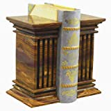 Khan Imports Decorative Onyx Stone Bookends, Heavy Marble Column Bookends for Office - Large