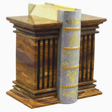 Khan Imports Decorative Onyx Stone Bookends, Heavy Marble Column Bookends for Office - Extra Large
