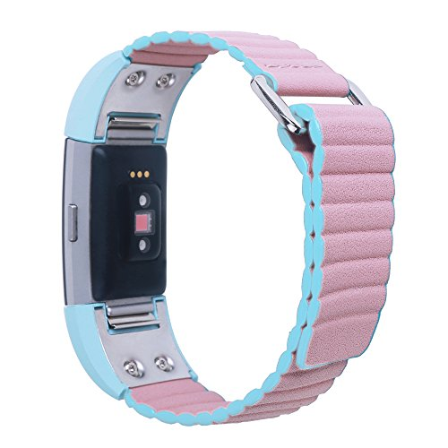 Magnetic Leather Replacement Charge 2 Bands-C2DJOY(2017 New Design)Twotone Adjustable Small Large Men Women Leather Bands For Fitbit Charge 2 Watch Accessories ,Fantastic Green/Pink(L) (6.8-8.1inch)