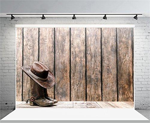 AOFOTO 7x5ft Vintage Cowboy Hat Boots Photography Background Grunge Vintage Wooden Board Wild West Style Backdrop Wood Plank Fence Kid Boy Adult Portrait Photoshoot Studio Props Video Drape Wallpaper ()
