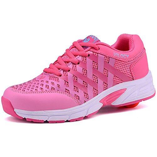 Vilocy Unisex niños sneaker rueda Roller skate shoes Trainers (US3, Pink)