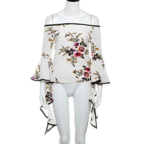 SKY La Sra tirantes de manga larga camisa de impresión de cuerno Print Off Shoulder Summer Long Sleeve Shirt Casual Blouse Tops T-Shirt Blanco