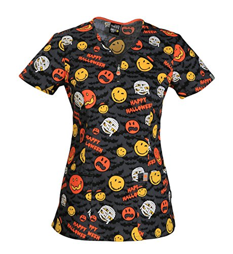 (Code Happy Women's V-Neck Halloween Print Scrub Top X-Large)