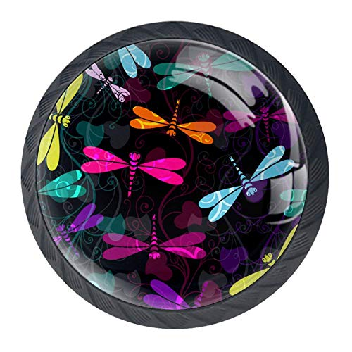 DEYYA Colorful Dark Green Yellow Blue Dragonfly Crystal Glass Drawer Knob Pull Handle 30mm Ergonomic Circle Cabinet Handle with Screws 4 PCS