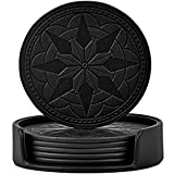 365park Drink Coasters, PU Leather Coasters Set of 6 Holder Glasses,Good Grip, Deep Tray,Black