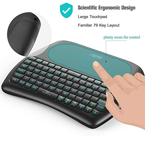 2019 d8 pro aerb backlit mini wireless keyboard with large touchpad mouse rechargable li ion. Black Bedroom Furniture Sets. Home Design Ideas