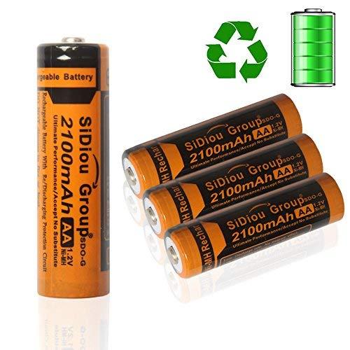 Sidiou Group 2100mAh 1.2V Rechargeable Ni-MH battery AA or No.5 rechargeable battery Ni-MH universal battery(AA type) Friendly-environmentally & Energy-saving battery