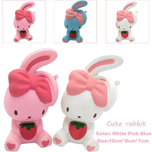 Convinced 8 Fun Rabbit Squishy Decor Slow Rising Kid Toy Squeeze Relieve Anxiet Gift (White)