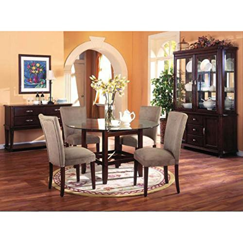 Monarch Specialties I 3655 Medium Brown with 10Mm Ogee Glass Dining Table, 53