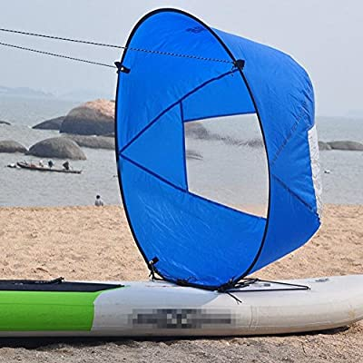 Amazingli Downwind Kayak Wind Sail Kit Kayak Wind Paddle 42 inches Kayak Canoe Accessories, Easy Setup & Deploys Quickly, Compact & Portable Blue