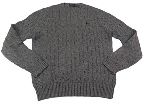 Polo Ralph Lauren Men's Crew-Neck Cotton Cable Sweater (XL, Grey/Navy Pony)