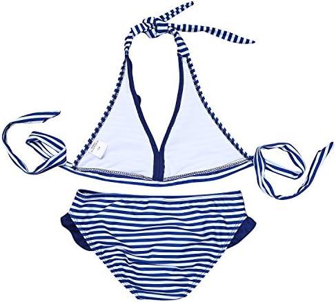 Traje de Ba/ño Rayado Cuello Halter Bikini Tankini iEFiEL Ba/ñador de Dos Piezas para Ni/ña Chica 8-16 A/ños