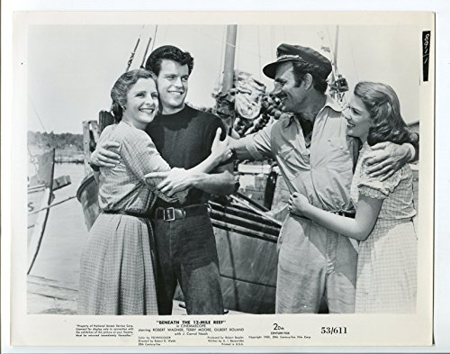 MOVIE PHOTO: Beneath the 12-Mile Reef 8x10 B&W still- Robert Wagner and Terry Moore- FN