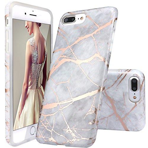 s Case,iPhone 8 Plus Case, Gray Shiny Rose Gold Marble Design Clear Bumper TPU Soft Case Rubber Silicone Skin Cover for iPhone 7 Plus (2016) / iPhone 8 Plus (2017) ¡ ()