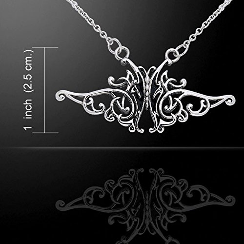 Flowing Celtic Knot and Black Butterfly Sterling Silver Adjustable 17 Necklace