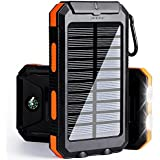 soyond Solar Phone Charger, Portable Solar Power Bank, 10000 mAh Power Bank Solar Battery Charger Dual USB Waterproof 2 Led Light Flashlight Compass for Smartphones (Orange)