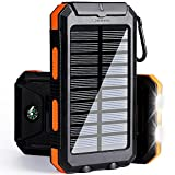 Solar Phone Charger, Solar Power Bank, 10000 mAh Portable Power Bank Solar Battery Charger Dual USB Waterproof 2 Led Light Flashlight Compass iPhone, ipad, Samsung (Orange)