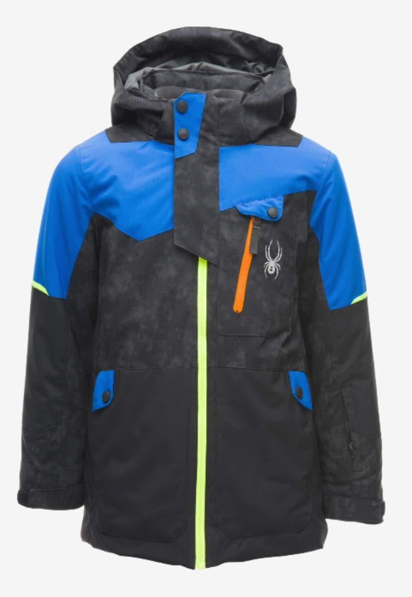 Spyder Kids Boy's Tordrillo Jacket (Big Kids) Cloudy Reflective Distress Black/Black/Turkish Sea 18