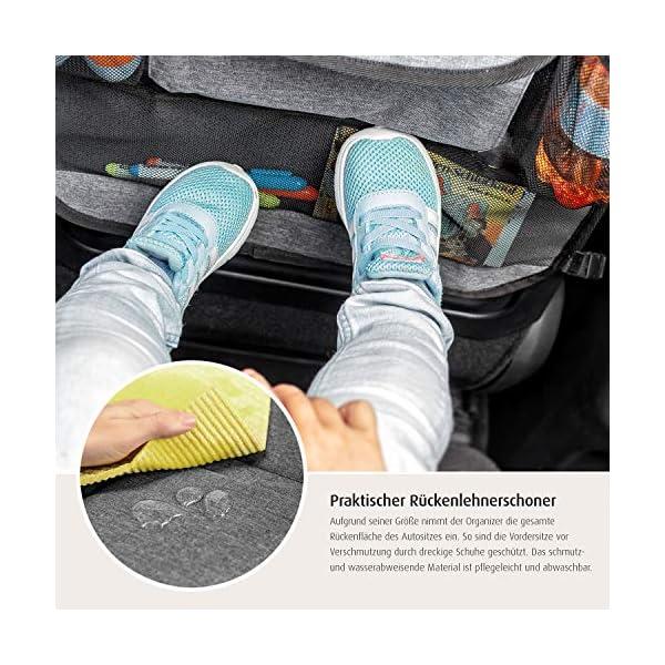 51db5WCUnwL reer Autorücksitz-Organizer TravelKid Tidy, schmutzabweisend, viele Taschen, für alle Autositze, auch Sportsitze, grau
