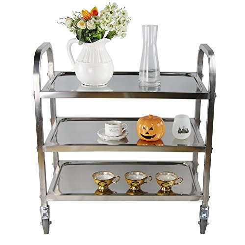 Yontree 3 Tiers Kitchen Island Rolling Utility Bar Cart Kitchen Trolley on Wheels 28.3x15.7x32.3 Inches