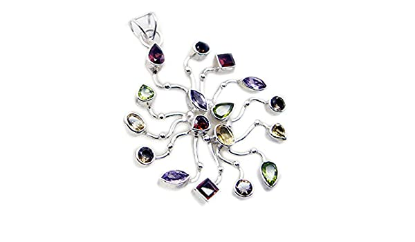 Gemsonclick Genuine Multi Sterling Silver For Women Pendant Chakra Healing Mixed Necklace Flower Style