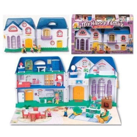 CP Toys Happy Home Take-Along Plastic Doll House with 26 pc Furniture Set and 4 Articulated (Plastic Dollhouses)