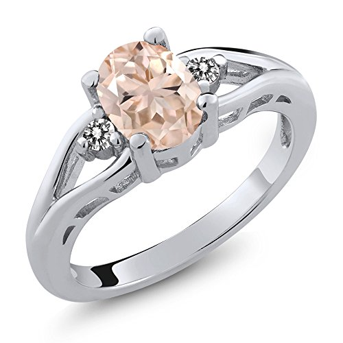 1.07 Ct Oval Peach Morganite White Diamond 925 Sterling Silver 3 Stone Ring by Gem Stone King