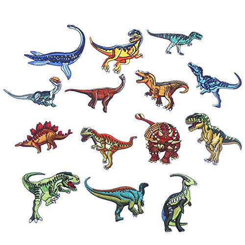 - CCINEE 14pcs Iron On Patches DIY Sew On Decorative Appliques Stickers Embroidery Patches for Cloth Backpacks Jeans Coats, Dinosaur Theme