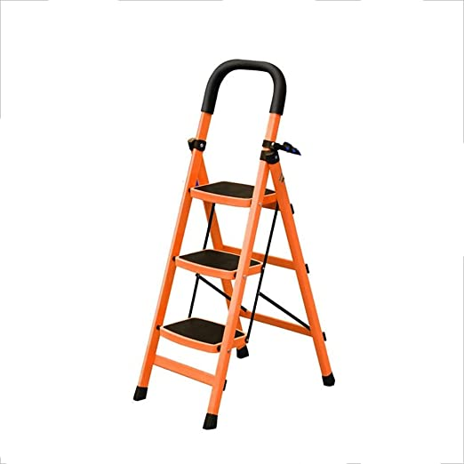 Escalera doméstica Taburete de escalera de aluminio Taburete de escalera pequeño y grueso de interior Taburete de escalera de pedal antideslizante multifunción (41 * 62 * 116cm) (Color : Naranja) : Amazon.es: Hogar